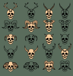 10 evil skull collection vector