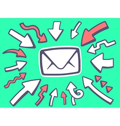 Arrows point to icon of envelope on green vector