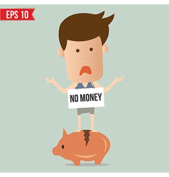 Business man stand on piggy - - eps10 vector