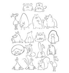 Black and white cartoon animals vector