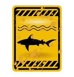 Shark attack warning sign vector