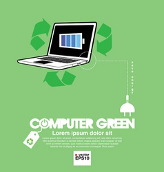 Computer with green concept vector