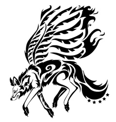 A tribal wolf with wing tattoo in black backgro vector