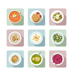 Vegetarian cuisine flat icons in color vector