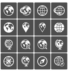 Globe icon pack on dark background vector