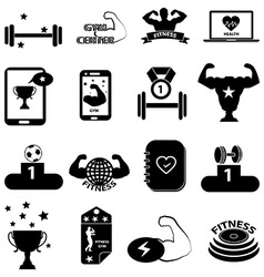 Gym fitness icons set vector