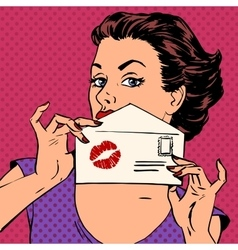 Girl with envelope for letter and kiss lipstick vector
