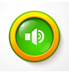 Green glass sound button vector