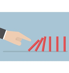 Businessman hand pushing the domino effect vector