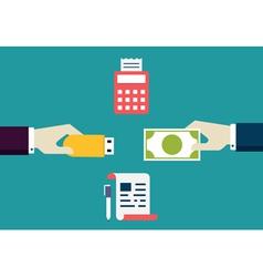 Concept of e-commece customer pays freelancer vector