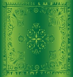 Beautiful vintage floral green background vector