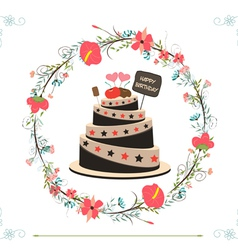 Happy birthday cupcake and florals vector