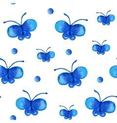 Seamless pattern with blue watercolor butterfly vector