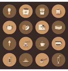 Coffe flat icons set vector