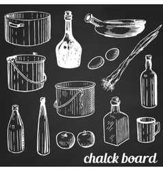 Chalk restaurant and kitchen related symbols vector