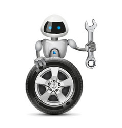 The robot with a car wheel and a spanner vector
