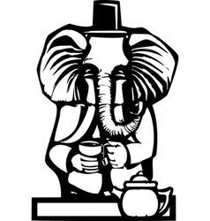 Elephant tea party vector