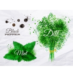 Spices herbs watercolor black pepper mint dill vector