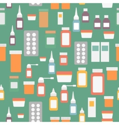 Flat style medical pharmaceutical bottles glasses vector