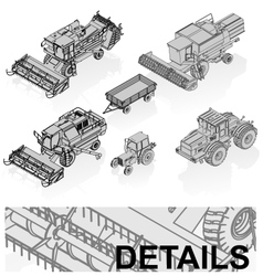 Agricultural vehicles set vector