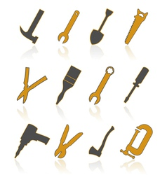 Builders tools icons vector