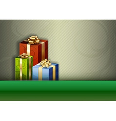 Christmas background green stripe gifts vector