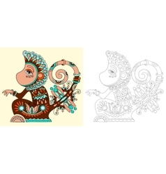 Coloring book page for adults with unusual vector