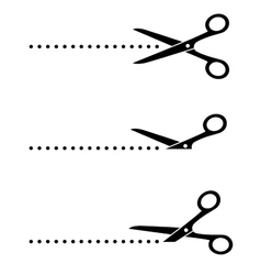 Scissors icon with cut line vector