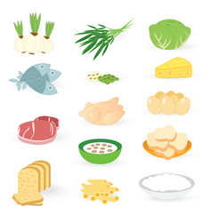 Set bakery vegetable and meat isolated on white ba vector