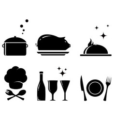 Isolated restaurant food objects vector