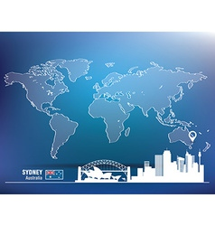 Map pin with sydney skyline vector