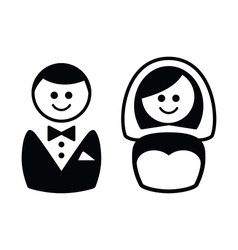 Married couple icons - groom and bride vector