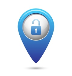Map pointer with open lock icon vector