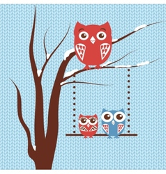 Christmas card with owls family sitting on the vector