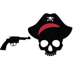 Pirate skull with revolver vector
