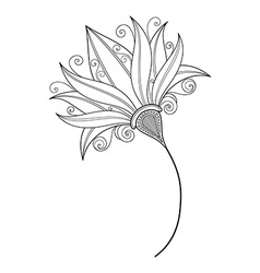 Beautiful monochrome contour flower vector