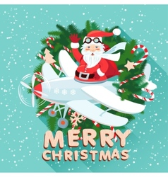 Waving santa claus on the plane iside the vector