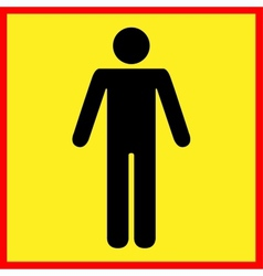 Standing human warning icon vector