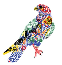 Bird patterns and miniatures symbolizing uae vector