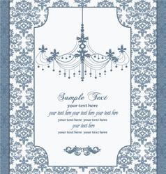 Blue vintage damask invitation card vector
