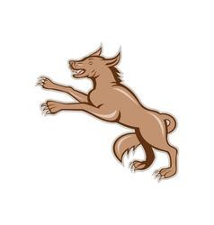 Wolf wild dog on hind legs cartoon vector