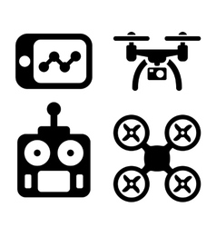 Quadrocopter icons vector