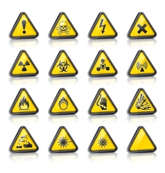Three-dimensional hazard signs vector