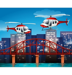 Helicopters near the bridge vector