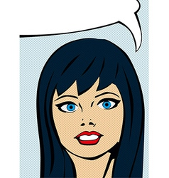 Retro comic girl with speech bubble vector