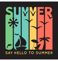 Summer typography with beach icons t-shirt vector