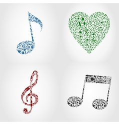Musical note icons vector