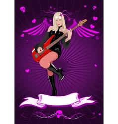 Girl with bass guitar vector