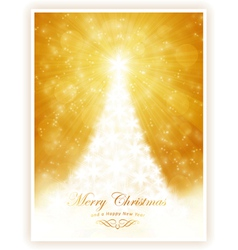 White shiny christmas tree on sparkling golden bac vector