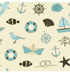 Cute nautical seamless vector